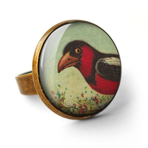 Disapproving,Bird,Ring,(TB09),jewellery, jewelry, handmade, brass, ring, vintage, glass, cabochon, steampunk, victorian, bird, red
