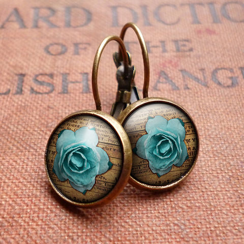 Blue,Rose,Leverback,Earrings,(RR02),jewellery, jewelry, handmade, brass, earrings, leverback, vintage, glass, cabochon, steampunk, victorian, blue, rose