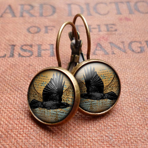 Raven,In,Flight,Leverback,Earrings,(RR03),jewellery, jewelry, handmade, brass, earrings, leverback, vintage, glass, cabochon, steampunk, victorian, black, raven, bird, flight
