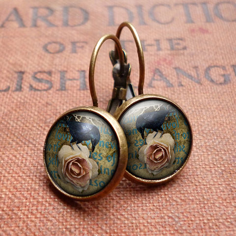 Raven,and,Pink,Rose,Leverback,Earrings,(RR05),jewellery, jewelry, handmade, brass, earrings, leverback, vintage, glass, cabochon, steampunk, victorian, black, raven, bird, pink, rose