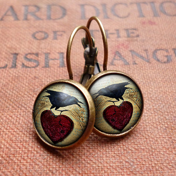 Raven and Red Heart No.1 Leverback Earrings (RR06) - product images