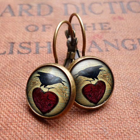 Raven,and,Red,Heart,No.1,Leverback,Earrings,(RR06),jewellery, jewelry, handmade, brass, earrings, leverback, vintage, glass, cabochon, steampunk, victorian, black, raven, bird, red, heart