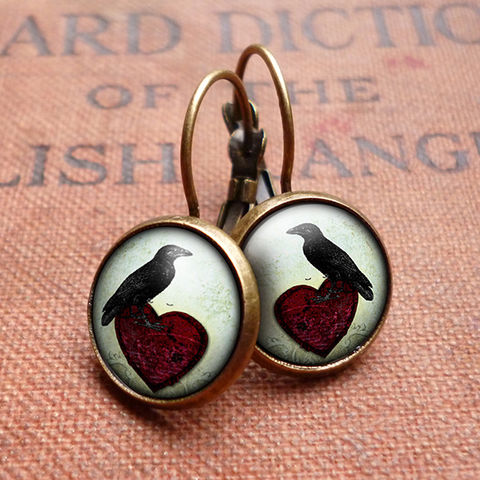 Raven,and,Red,Heart,No.2,Leverback,Earrings,(RR09),jewellery, jewelry, handmade, brass, earrings, leverback, vintage, glass, cabochon, steampunk, victorian, black, raven, bird, red, heart