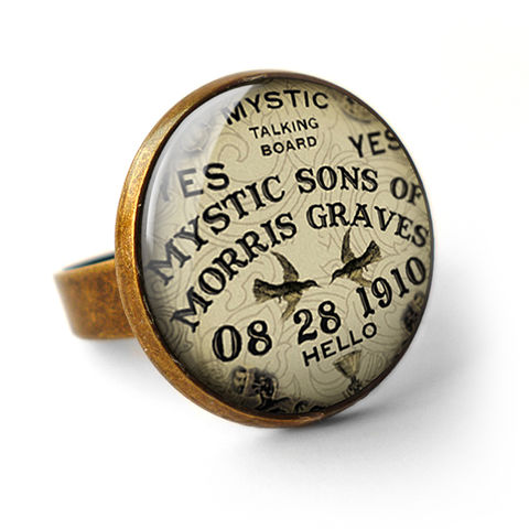 Mystic,Ring,(DJ02),jewellery, jewelry, handmade, brass, ring, vintage, glass, cabochon, steampunk, victorian, ouija, board, fortune