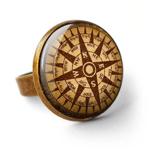 Compass,No.1,Ring,(DJ03),jewellery, jewelry, handmade, brass, ring, vintage, glass, cabochon, steampunk, victorian, ship, compass, journey, travel