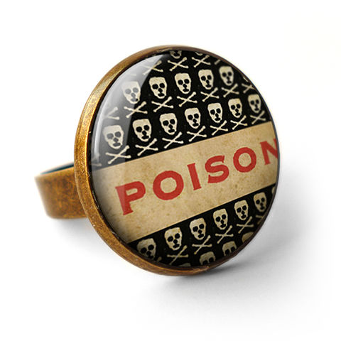 Poison,No.1,Ring,(DJ06),jewellery, jewelry, handmade, brass, ring, vintage, glass, cabochon, steampunk, victorian, poison, skull, toxic