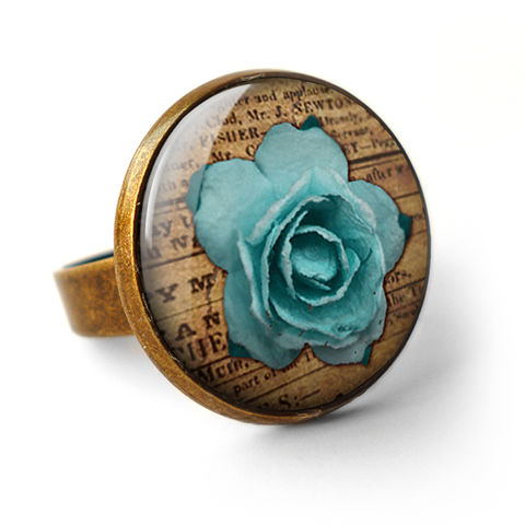 Blue,Rose,Ring,(RR02),jewellery, jewelry, handmade, brass, ring, vintage, glass, cabochon, steampunk, victorian, blue, rose