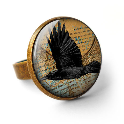 Raven,In,Flight,Ring,(RR03),jewellery, jewelry, handmade, brass, ring, vintage, glass, cabochon, steampunk, victorian, black, raven, bird, flight