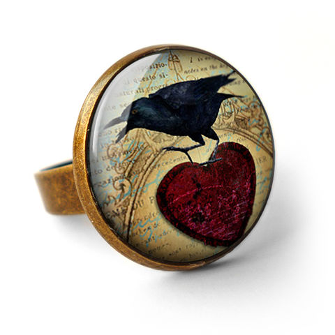 Raven,and,Red,Heart,No.1,Ring,(RR06),jewellery, jewelry, handmade, brass, ring, vintage, glass, cabochon, steampunk, victorian, black, raven, bird, red, heart