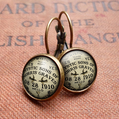 Mystic,Leverback,Earrings,(DJ02),jewellery, jewelry, handmade, brass, earrings, leverback, vintage, glass, cabochon, steampunk, victorian, ouija, board, fortune