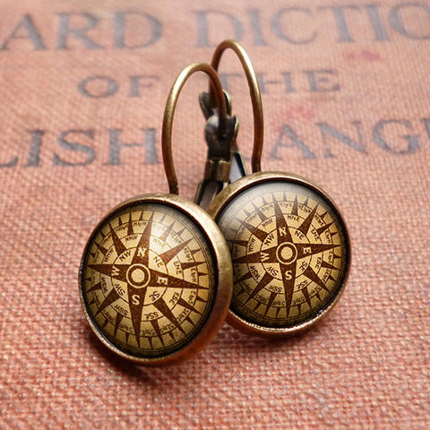 Compass,No.1,Leverback,Earrings,(DJ03),jewellery, jewelry, handmade, brass, earrings, leverback, vintage, glass, cabochon, steampunk, victorian, compass, ship, travel, journey
