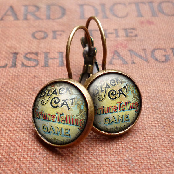 Black Cat Leverback Earrings (DJ05) - product images