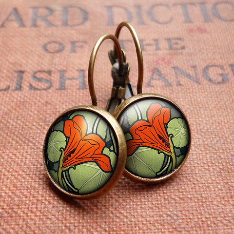 Nasturtium,Leverback,Earrings,(AN01),jewellery, jewelry, handmade, brass, earrings, leverback, vintage, glass, cabochon, art nouveau, flower, nasturtium, green, red, orange