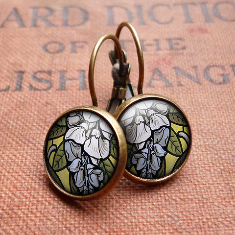 Wisteria,Leverback,Earrings,(AN03),jewellery, jewelry, handmade, brass, earrings, leverback, vintage, glass, cabochon, art nouveau, flower, wisteria, blue, lilac