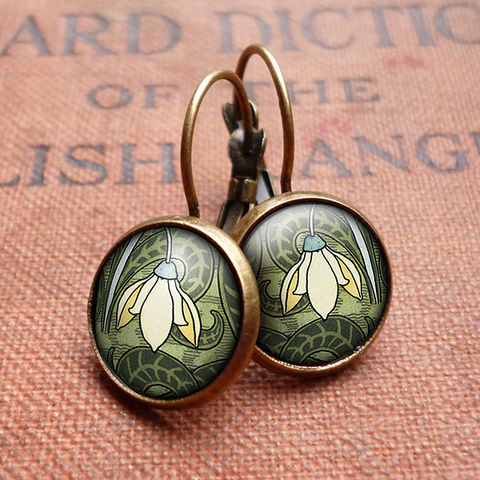 Snowdrop,Leverback,Earrings,(AN05),jewellery, jewelry, handmade, brass, earrings, leverback, vintage, glass, cabochon, art nouveau, flower, snowdrop, cream, green