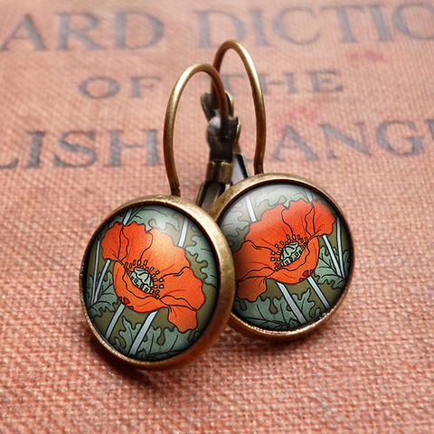 Poppy,Leverback,Earrings,(AN07),jewellery, jewelry, handmade, brass, earrings, leverback, vintage, glass, cabochon, art nouveau, flower, poppy, red