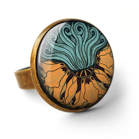 Fritillaria,Ring,(AN02),jewellery, jewelry, handmade, brass, ring, vintage, glass, cabochon, art nouveau, flower, crown, imperial, fritillaria, orange, aqua