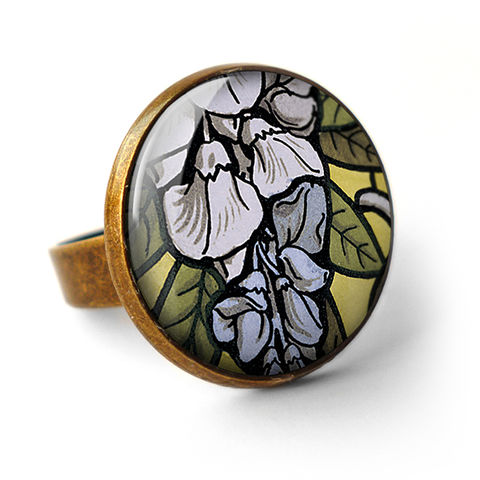 Wisteria,Ring,(AN03),jewellery, jewelry, handmade, brass, ring, vintage, glass, cabochon, art nouveau, flower, wisteria, blue, lilac