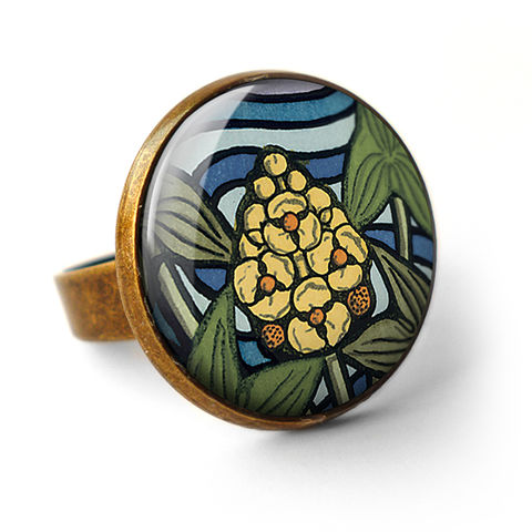 Arrowhead,Ring,(AN08),jewellery, jewelry, handmade, brass, ring, vintage, glass, cabochon, art nouveau, flower, arrowhead, yellow, blue, green