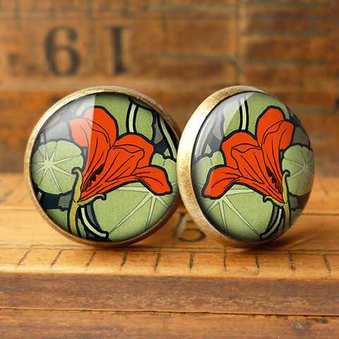 Nasturtium,Cufflinks,(AN01),jewellery, jewelry, handmade, brass, cufflinks, vintage, glass, cabochon, art nouveau, flower, nasturtium, red, orange