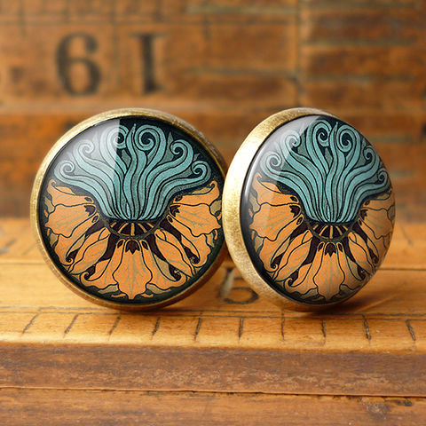 Fritillaria,Cufflinks,(AN02),jewellery, jewelry, handmade, brass, cufflinks, vintage, glass, cabochon, art nouveau, flower, crown, imperial, fritillaria, orange, aqua