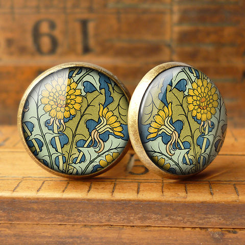 Dandelion,Cufflinks,(AN04),jewellery, jewelry, handmade, brass, cufflinks, vintage, glass, cabochon, art nouveau, flower, dandelion, yellow, blue