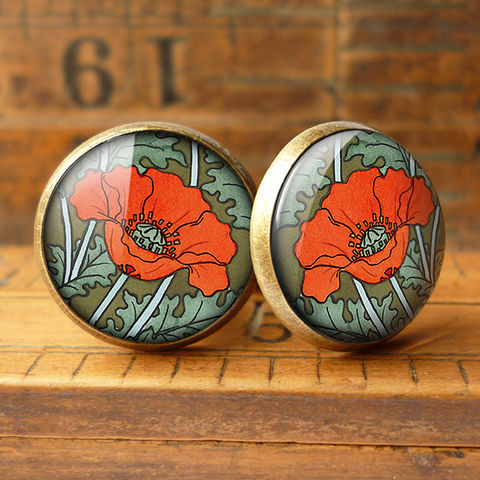 Poppy,Cufflinks,(AN07),jewellery, jewelry, handmade, brass, cufflinks, vintage, glass, cabochon, art nouveau, flower, poppy, red