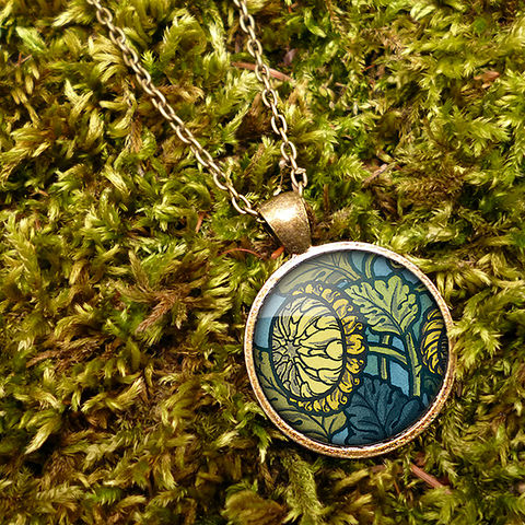 Chrysanthemum,Large,Necklace,(AN06),jewellery, jewelry, handmade, brass, necklace, vintage, glass, cabochon, art nouveau, flower, chrysanthemum, yellow, blue, green