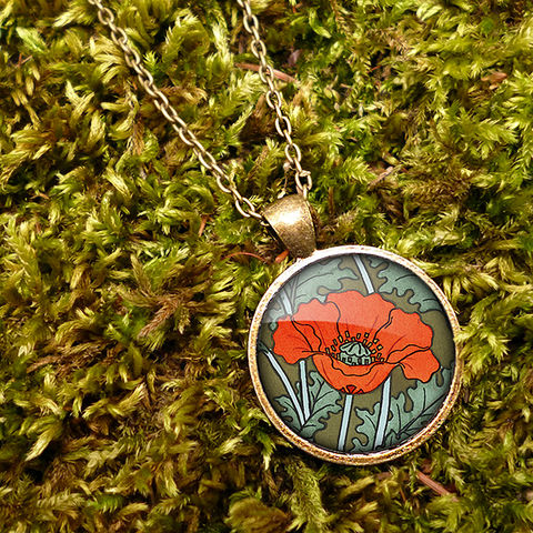 Poppy,Large,Necklace,(AN07),jewellery, jewelry, handmade, brass, necklace, vintage, glass, cabochon, art nouveau, flower, poppy, red