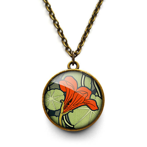 Nasturtium,Necklace,(AN01),jewellery, jewelry, handmade, brass, necklace, vintage, glass, cabochon, art nouveau, flower, nasturtium, red, orange