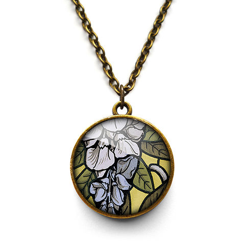 Wisteria,Necklace,(AN03),jewellery, jewelry, handmade, brass, necklace, vintage, glass, cabochon, art nouveau, flower, wisteria, blue, lilac
