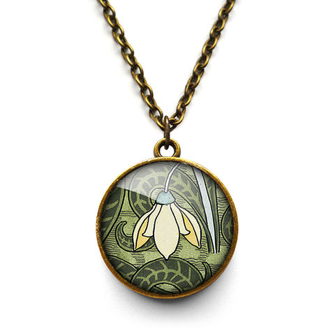 Snowdrop,Necklace,(AN05),jewellery, jewelry, handmade, brass, necklace, vintage, glass, cabochon, art nouveau, flower, snowdrop, cream, green