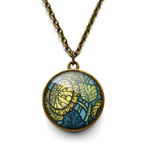 Chrysanthemum,Necklace,(AN06),jewellery, jewelry, handmade, brass, necklace, vintage, glass, cabochon, art nouveau, flower, chrysanthemum, yellow, blue, green