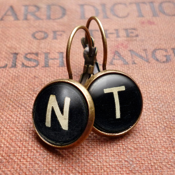 Personalised Initials Alphabet Typewriter Key Leverback Earrings (AL01) - product images  of