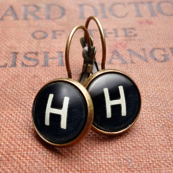 Personalised Initials Alphabet Number Typewriter Key Leverback Earrings (AL01) - product images  of