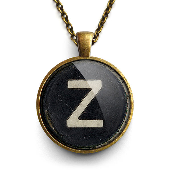 Personalised Initial Alphabet Typewriter Key Large Necklace (AL01) - product images  of