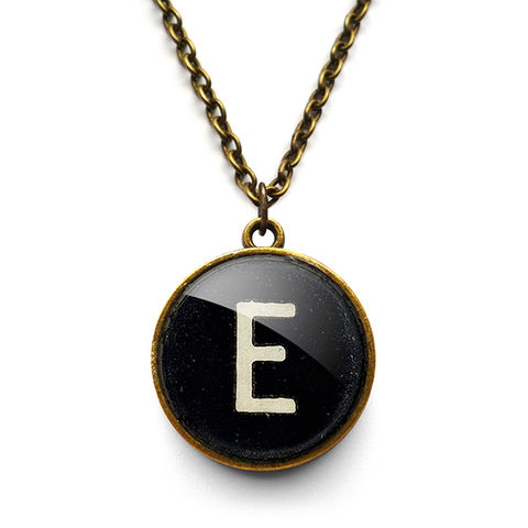 Personalised,Initial,Alphabet,Number,Typewriter,Key,Necklace,(AL01),jewellery, jewelry, handmade, brass, necklace, vintage, glass, cabochon, steampunk, victorian, typewriter, key, black, personalised, alphabet