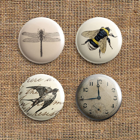 Set,Of,4,Eclectic,Range,Button,Badges,(ER),jewellery, jewelry, badge, button, pin, steampunk, victorian, vintage, swallow, clock, bee, dragonfly, stocking filler