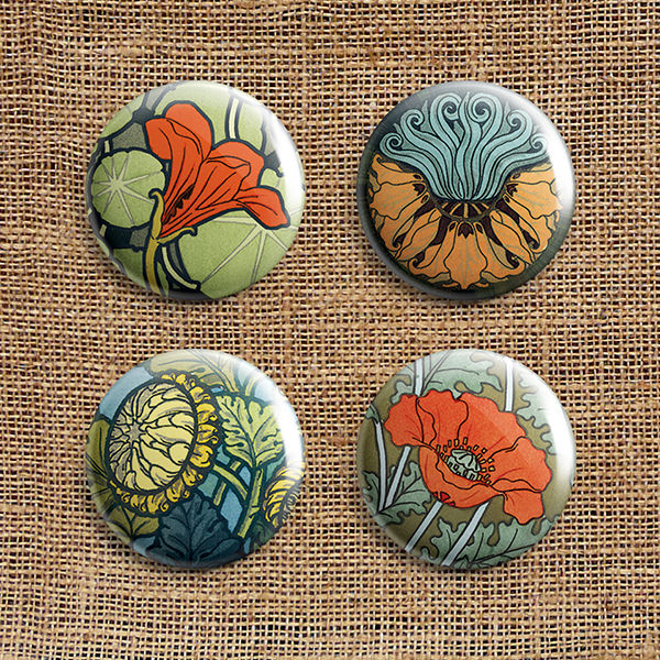 Set Of 4 Art Nouveau Button Badges (AN) - product images