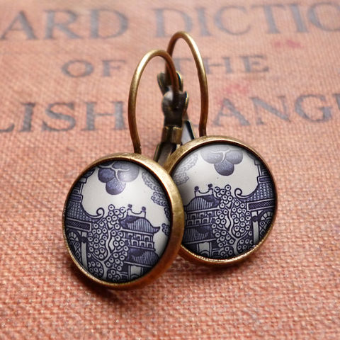 Willow,No.1,Leverback,Earrings,(BP01),jewellery, jewelry, handmade, brass, earrings, leverback, vintage, glass, cabochon, broken pottery, willow, pattern