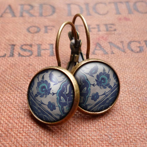 Floral,No.1,Leverback,Earrings,(BP04),jewellery, jewelry, handmade, brass, earrings, leverback, vintage, glass, cabochon, broken pottery, floral, flower, pattern
