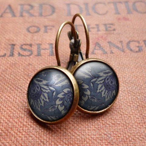Floral,No.2,Leverback,Earrings,(BP05),jewellery, jewelry, handmade, brass, earrings, leverback, vintage, glass, cabochon, broken pottery, floral, flower, pattern