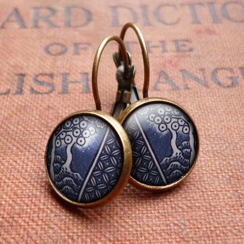 Willow,No.2,Leverback,Earrings,(BP07),jewellery, jewelry, handmade, brass, earrings, leverback, vintage, glass, cabochon, broken pottery, willow, pattern