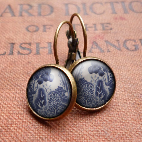 Willow,No.3,Leverback,Earrings,(BP08),jewellery, jewelry, handmade, brass, earrings, leverback, vintage, glass, cabochon, broken pottery, willow, pattern