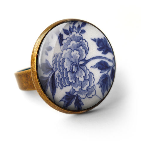 Peony,Ring,(BP02),jewellery, jewelry, handmade, brass, ring, vintage, glass, cabochon, broken pottery, peony, flower