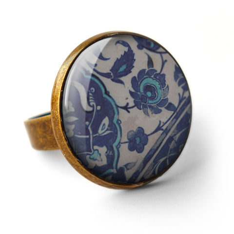 Floral,No.1,Ring,(BP04),jewellery, jewelry, handmade, brass, ring, vintage, glass, cabochon, broken pottery, floral, flower, pattern
