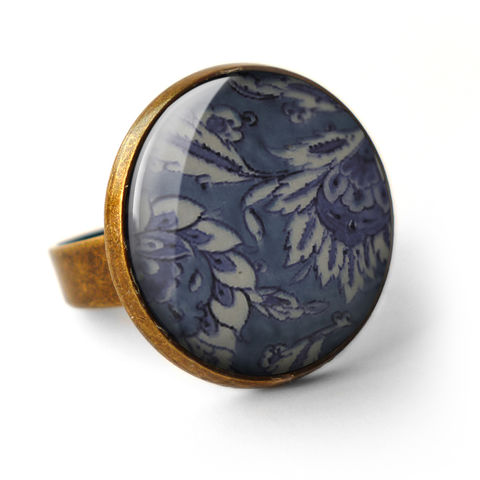 Floral,No.2,Ring,(BP05),jewellery, jewelry, handmade, brass, ring, vintage, glass, cabochon, broken pottery, floral, flower, pattern