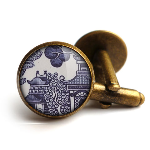 Willow,No.1,Cufflinks,(BP01),jewellery, jewelry, handmade, brass, cufflinks, vintage, glass, cabochon, broken pottery, willow, pattern