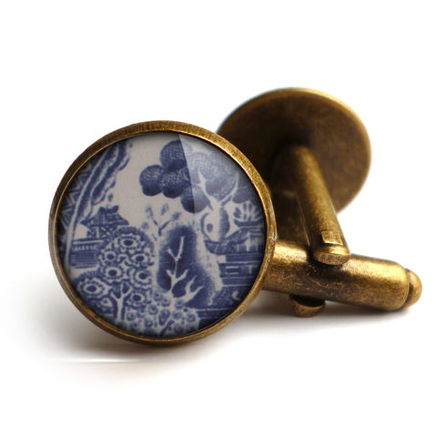 Willow,No.3,Cufflinks,(BP08),jewellery, jewelry, handmade, brass, cufflinks, vintage, glass, cabochon, broken pottery, willow, pattern