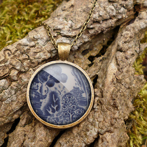 Willow,No.3,Large,Necklace,(BP08),jewellery, jewelry, handmade, brass, necklace, vintage, glass, cabochon, broken pottery, willow, pattern